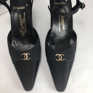 CHANEL Massaro TwoTone Black Ankle Strap Gold Logo